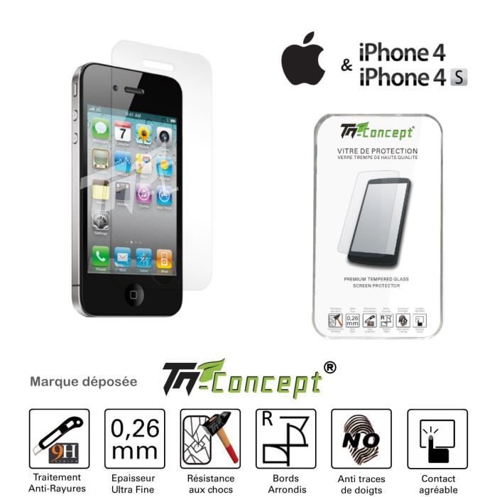 tm concept vitre de protection iphone 4 4s achat film protect t l phone pas cher avis et. Black Bedroom Furniture Sets. Home Design Ideas