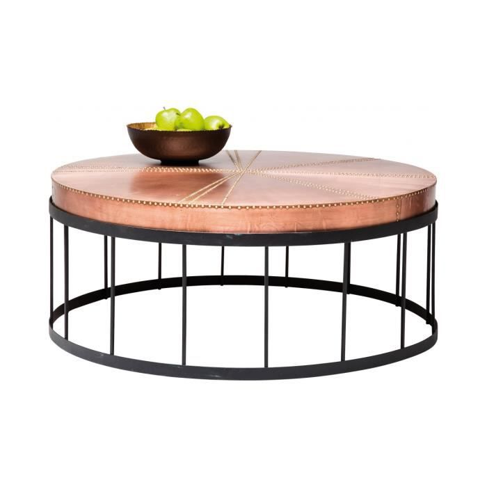 table basse ronde rivet copper kare design - achat / vente table