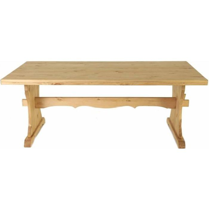 Table monast re pin massif 200 x 100 cm edelweiss achat for Table cuisine pin massif