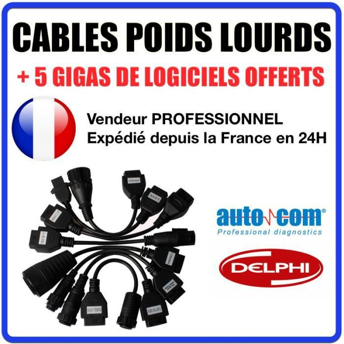 kit 8 cables camions trucks pour autocom delphi cdp cdp pro ds150 achat vente outil. Black Bedroom Furniture Sets. Home Design Ideas