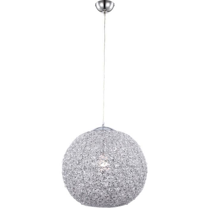 suspension luminaire plafond chrome boule aluminium treillis clairage glamoureux achat. Black Bedroom Furniture Sets. Home Design Ideas