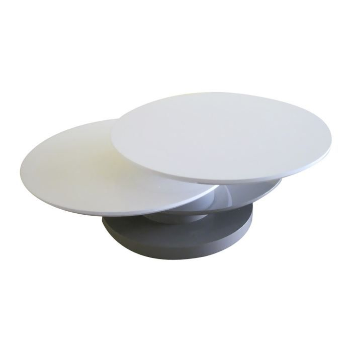 Table basse ronde sibia en mdf laqu blanc et gris achat for 2 table basse ronde
