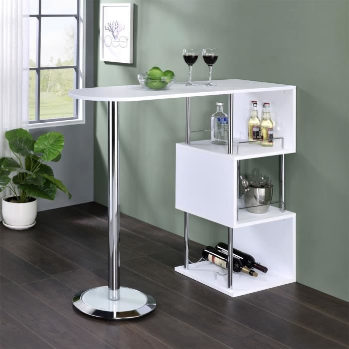 Meuble bar blanc laque achat vente meuble bar blanc for Table ronde de bar