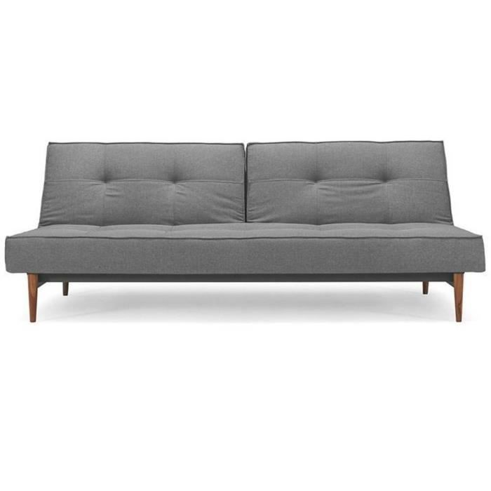 Canape lit design splitback bois gris convertible achat for Canape lit design