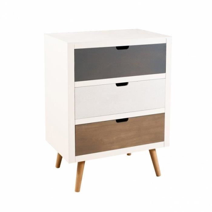 petite commmode 3 portes enzo style scandinave en bois achat vente commode de chambre petite. Black Bedroom Furniture Sets. Home Design Ideas