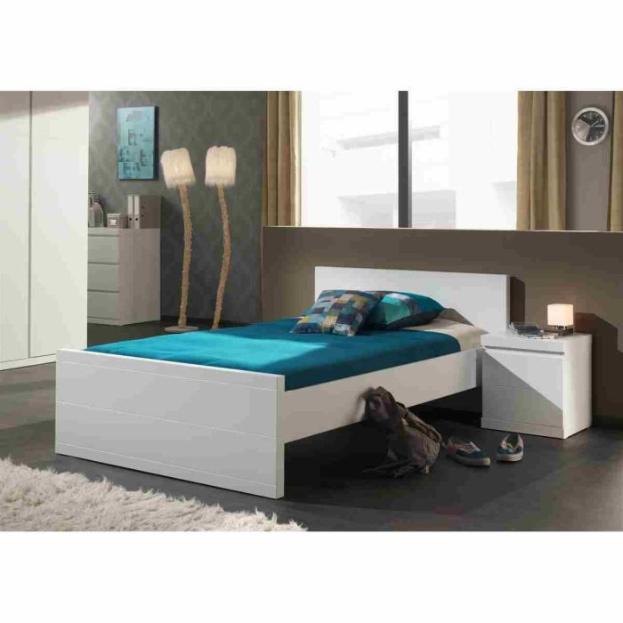 lara lit enfant 90 x 200 cm laqu blanc achat vente. Black Bedroom Furniture Sets. Home Design Ideas