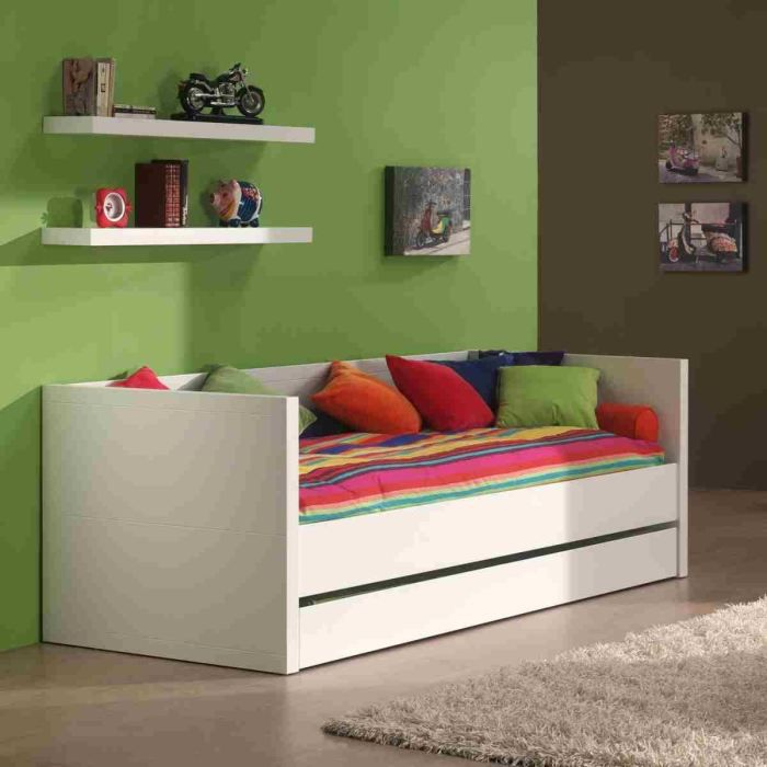 lara lit enfant combin 90x200 cm laqu blanc achat. Black Bedroom Furniture Sets. Home Design Ideas