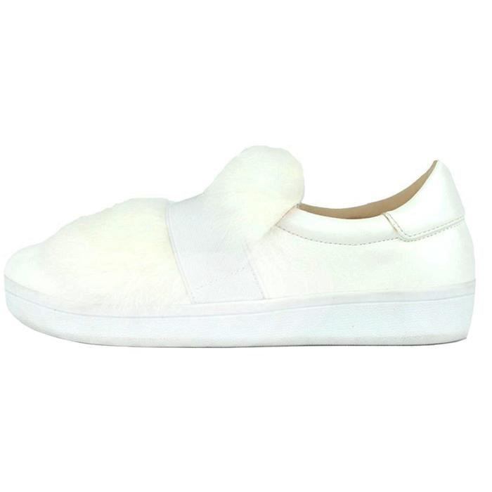 Faux Fur Metallic Banded Slip-on Fashion Sneaker WBQSO Taille-37 1-2