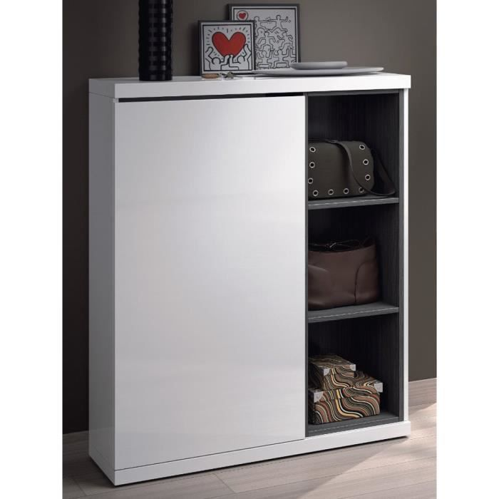 meuble chaussures avec 1 porte et 3 tag res coloris blanc brillant 108 x 79 x 25 cm achat. Black Bedroom Furniture Sets. Home Design Ideas