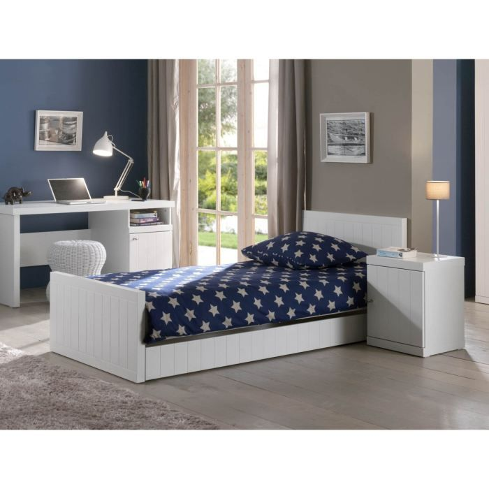 robin lit enfant 90x200 cm laqu blanc achat vente. Black Bedroom Furniture Sets. Home Design Ideas