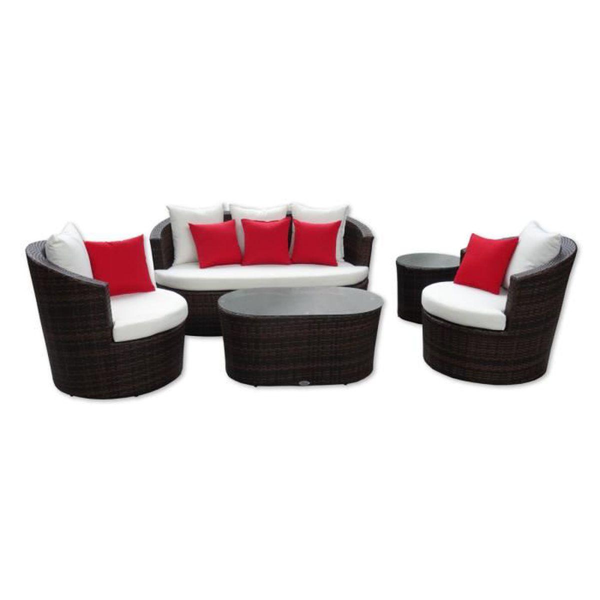Salon de jardin poly rotin tressé - Ensemble meubles rond ...