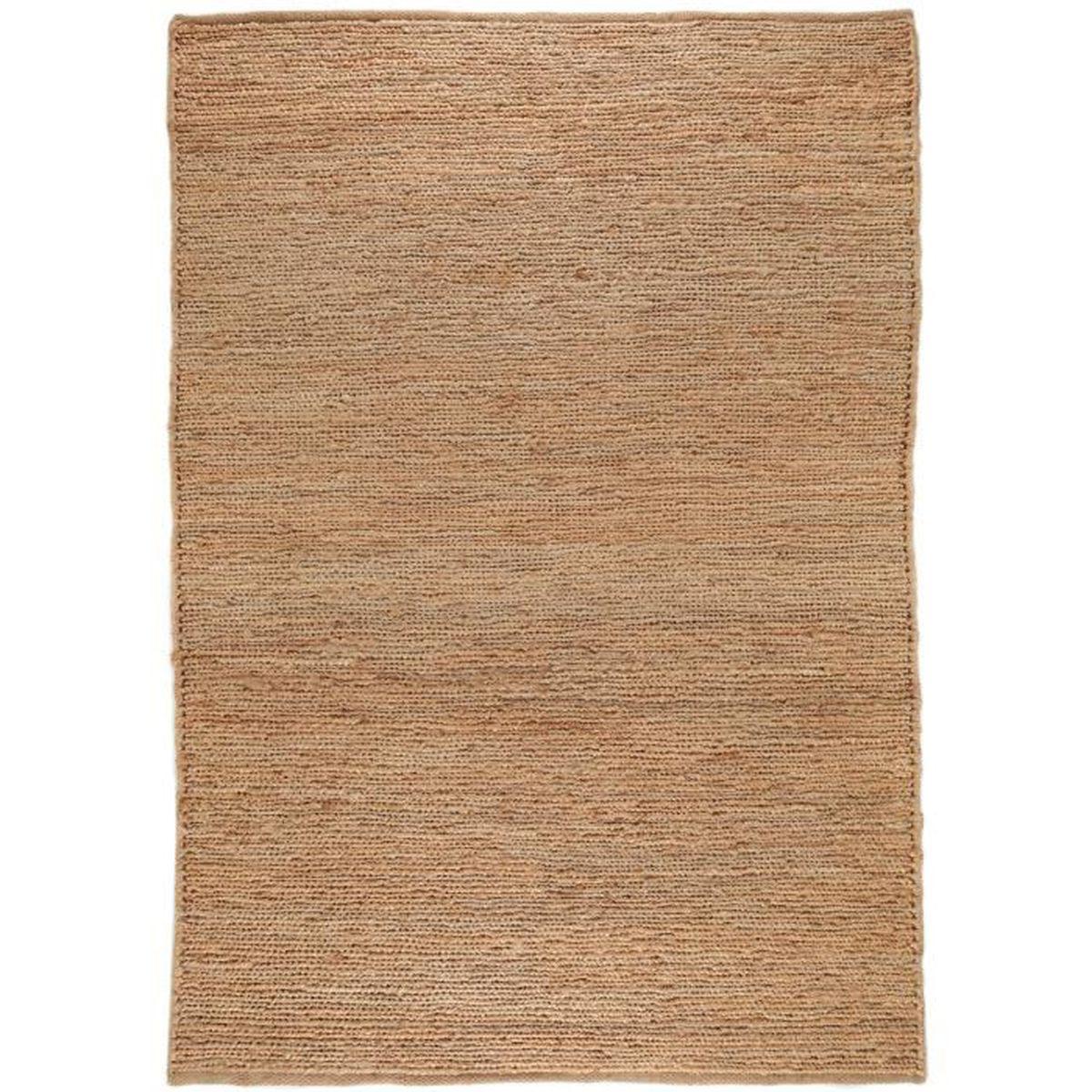 Grand tapis shaggy 200x140 cm - design Helsinki - couleur marron clair