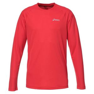 MAILLOT DE RUNNING ASICS Crew Tee shirt manches longues Homme - Rouge