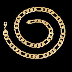 CHAINE DE COU SEULE Collier en or jaune 18 carats avec chaîne Figaro,