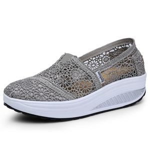 CHAUSSURE TONING Mesh Slip-On de la femme Plate-forme chaussures...