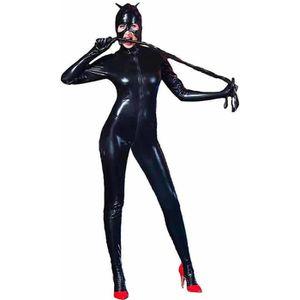 ENSEMBLE DE LINGERIE Sexy Zipper Ouvert Entrejambe Catwomen Catsuit Spa