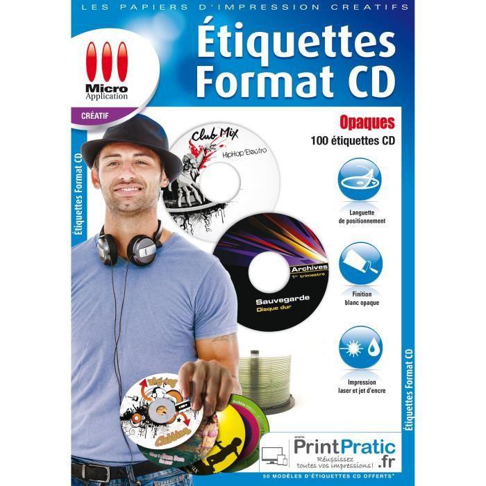 Étiquettes CD Opaques - 100 étiquettes mates - impression jet d'encre et laser