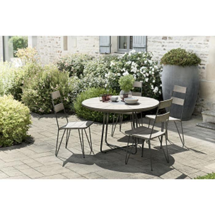Ensemble de jardin en teck : 1 table à manger ronde - 2 lots de 2 chaises scandinaves en teck et métal JARDITECK
