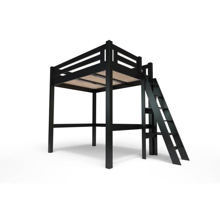 Lit Mezzanine Alpage bois + échelle hauteur réglable - 140x200 - Noir