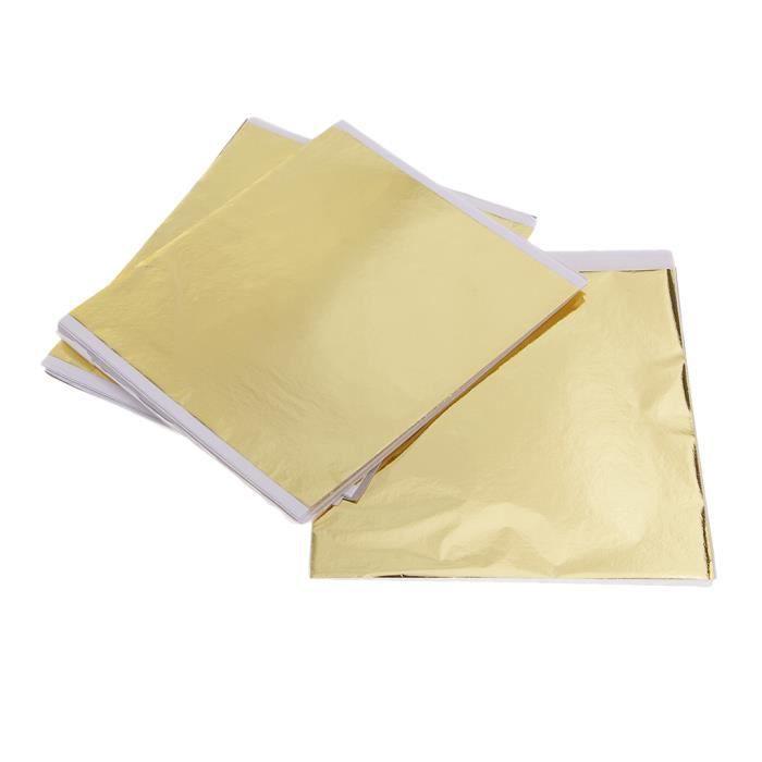 Paquet De 100 14x14cm Imitation Feuille D'or Feuille De Transfert Feuille De Dorure