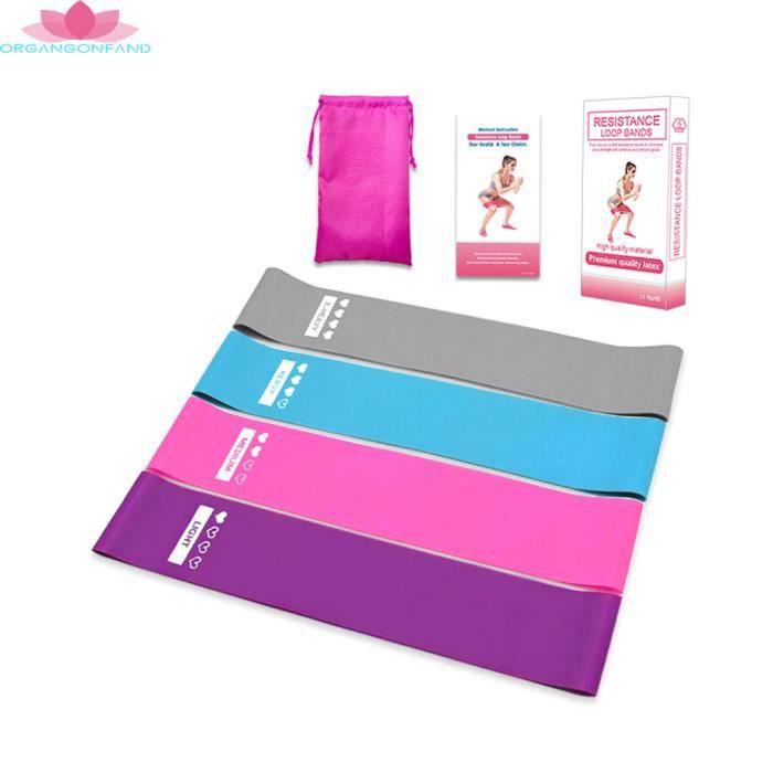 Bande de Resistance Set (4) - Loop Bande Elastique Fitness équipement d'Exercices pour Musculation Pilates Squat Sport