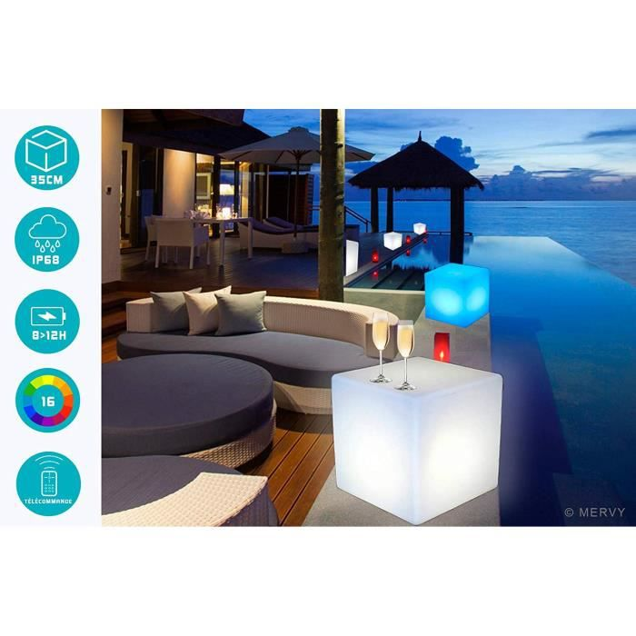 Cube Lumineux 10cm - Usage Intérieur et Extérieur - Eclairage Multicolore à LED - Rechargeable et Autonome - Télécommande