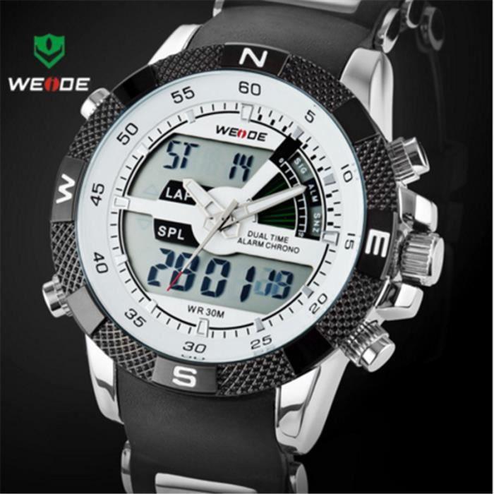 weide montre hommes mouvement silicone led minutage électronique numérique montres1104 noir