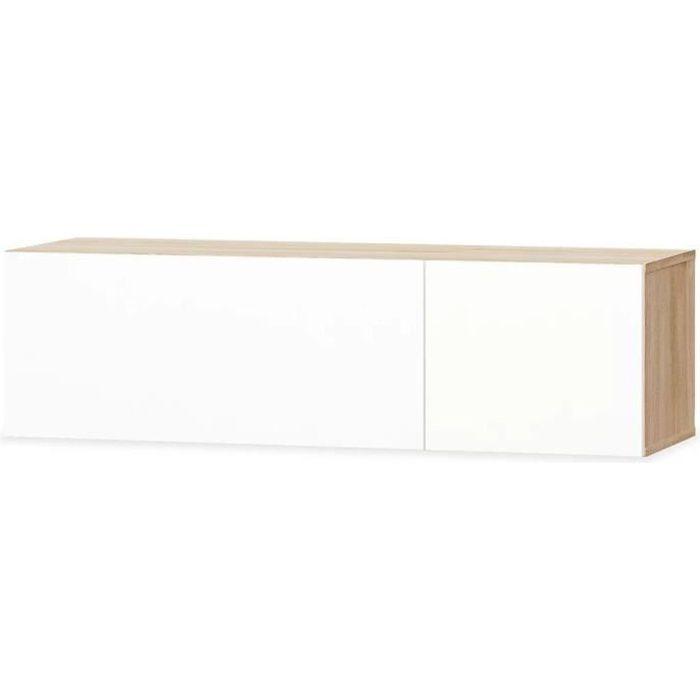 Meuble télé buffet tv télévision design pratique aggloméré 120 cm chêne et blanc brillant 2502090