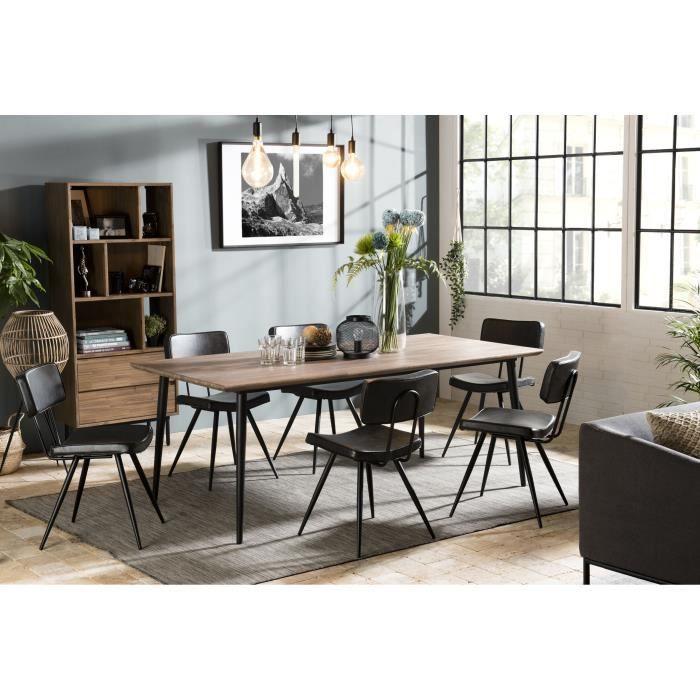 Table à manger bois 200x100cm Acacia pieds métal