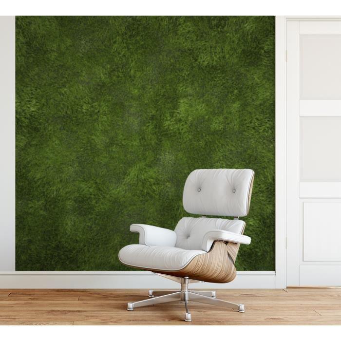 Papier peint finition satiné pré-encollé -Texture gazon vert- L, 274 x H, 270 cm