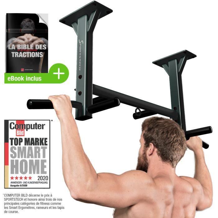 Barre de traction plafond KS400 rembourrage solide 300 kg cheville fixation incluses tractions musculation Fitness elingues TRX boxe