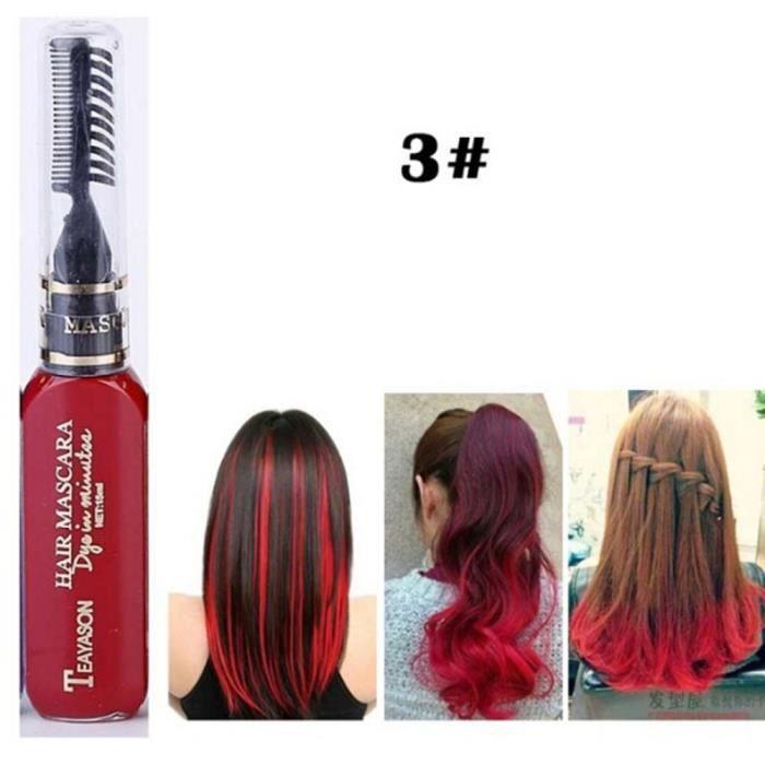 Mascara jetable pour coloration des cheveux, disponible en 13 couleurs, temporaire, Non toxique, DIY, crème, bleu, gris, [1778DDA]