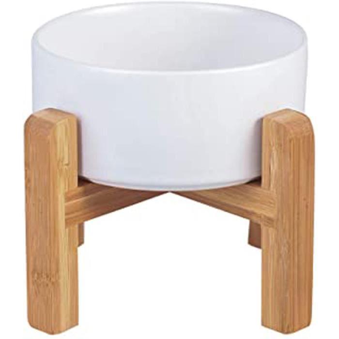 Blanc Hauteur Porte-gamelle Surélevée Pet Gamelles pour Chien et Chat Gamelles Chien Chat Céramique avec Bambou Support en Bois
