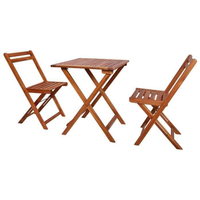 Salon de jardin pliable 3 pcs - Set bistrot - Mobilier de salle à manger - Bois d'acacia solide Parfait #235713