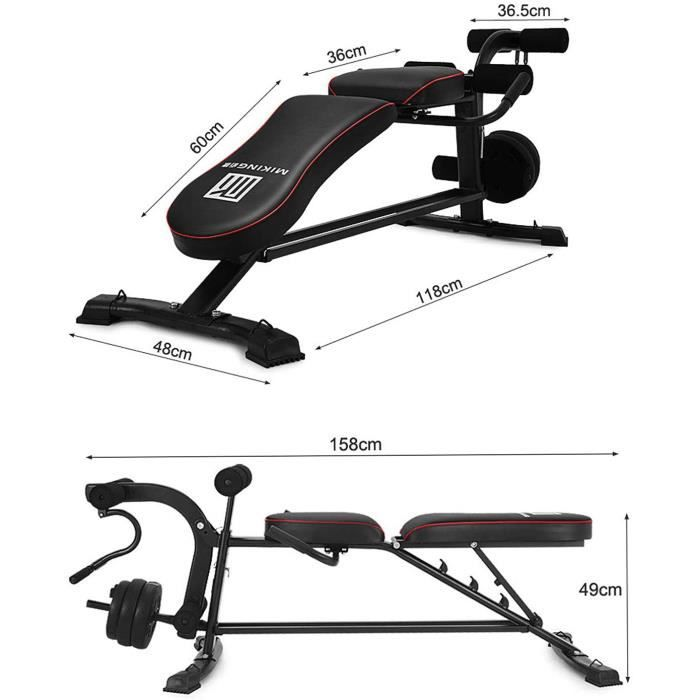 Réglable Banc Banc De Musculation Musculation- Gym Workout Bench Press Banc Olympique- Extension Leg Solid Body Machine Leg Cur[298]