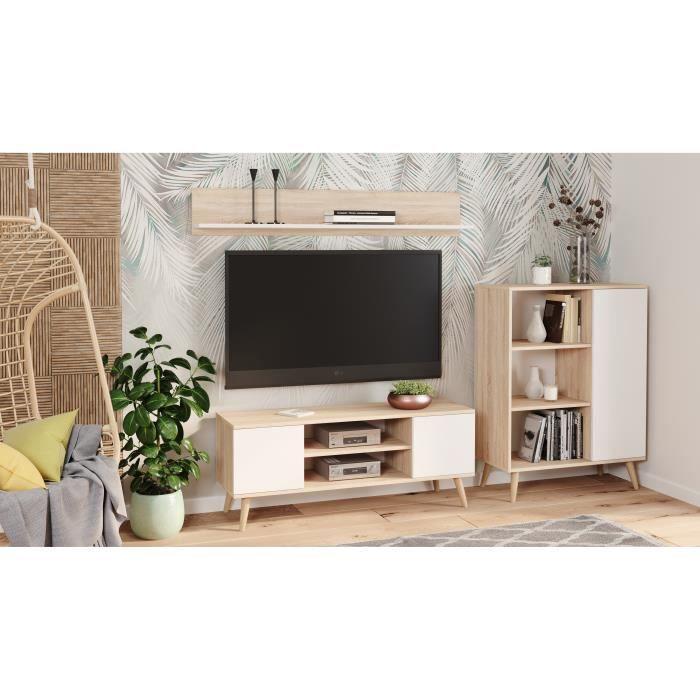 Meuble tv focus scandinave pieds en bois, chêne sonoma/blanc 155cm