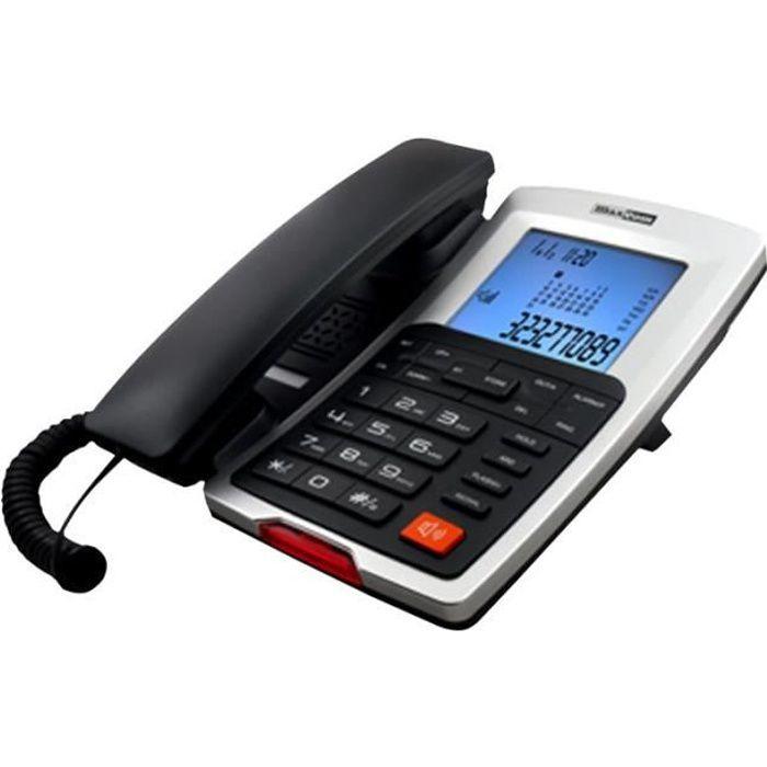 MaxCom KXT709 Téléphone filaire avec ID d'appelant noir