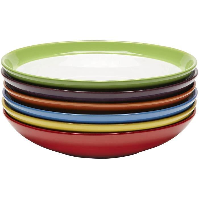 Lot de Vaisselle Assiette Creuse - Ensemble Assiette Grès - Lot Assiette Couleur - Assiette Spaghetti - Assiette Couscous - Assiette