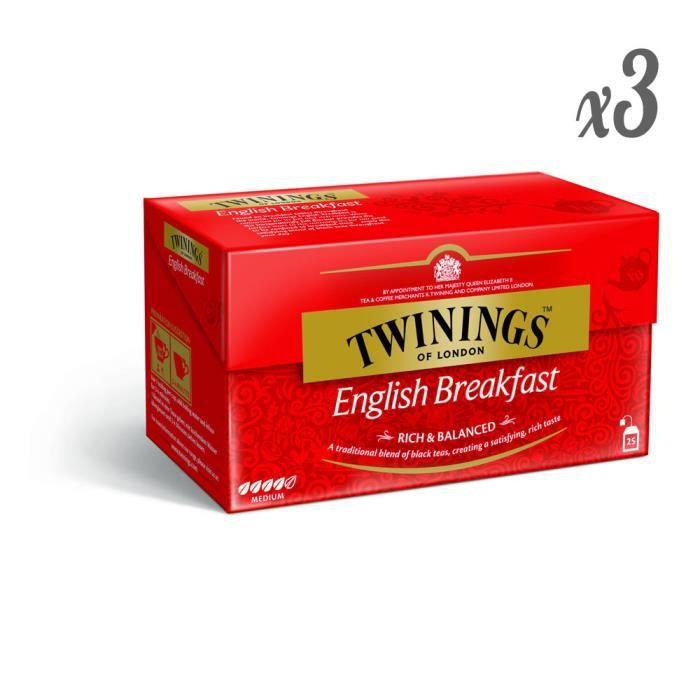 Twinings - Thé Noir Original English Breakfast 25 Sachets (Lot de 3)