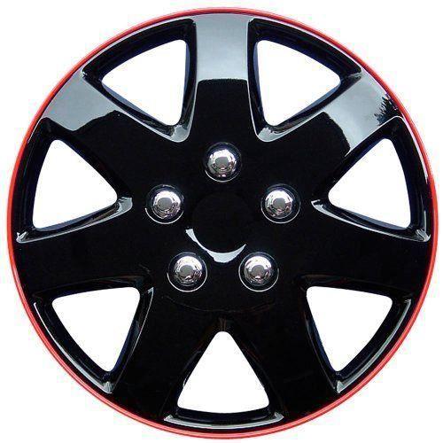 AutoStyle Michigan Lot d`enjoliveurs Noir brillant/jante rouge 15`, 4 pièces