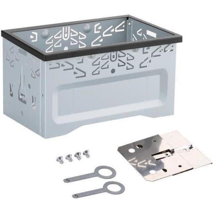 HG18568-Kit d'Installation Universel Autoradio de Voiture Cadre en Fer Format Double Din pour Lecteur Dvd Argent T02997