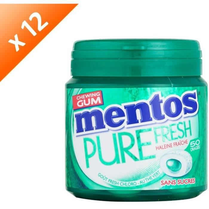 [LOT DE 12] MENTOS GUM PURE FRESH Bottle de 50 dragées sans sucres - Fresh chloro