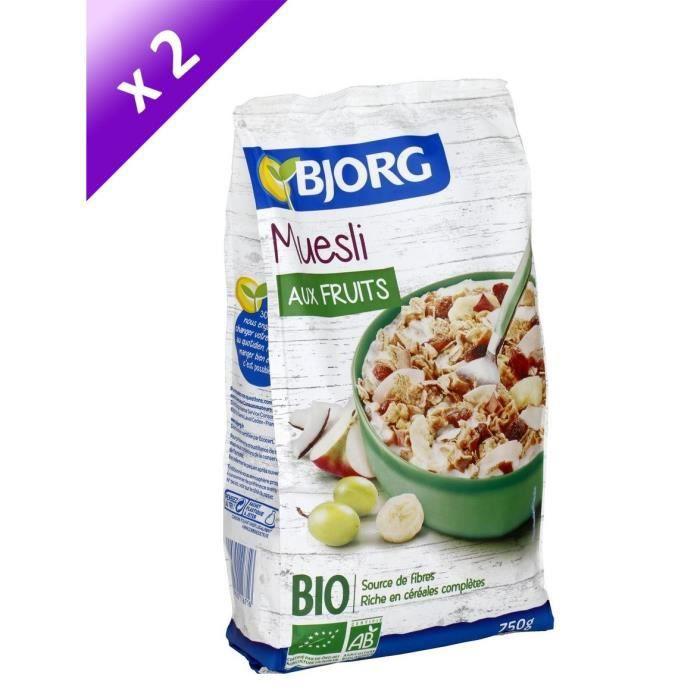 [LOT DE 2] Bjorg Muesli aux Fruits 750g