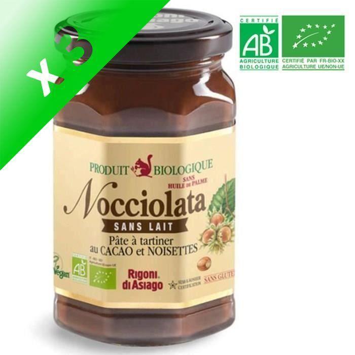 [LOT DE 3] NOCCIOLATA Pâte à tartiner chocolat sans lait BIO 270 g