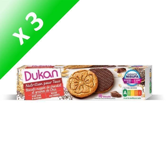 [LOT DE 3] DUKAN Biscuits de son d'avoine aux graines de Chia et chocolat - 160 g