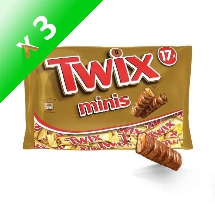 [LOT DE 3] MARS WRIGLEY CONFECTIONERY FRANCE Barres Twix minis nappées caramel et enrobées de chocolat au lait - 366 g