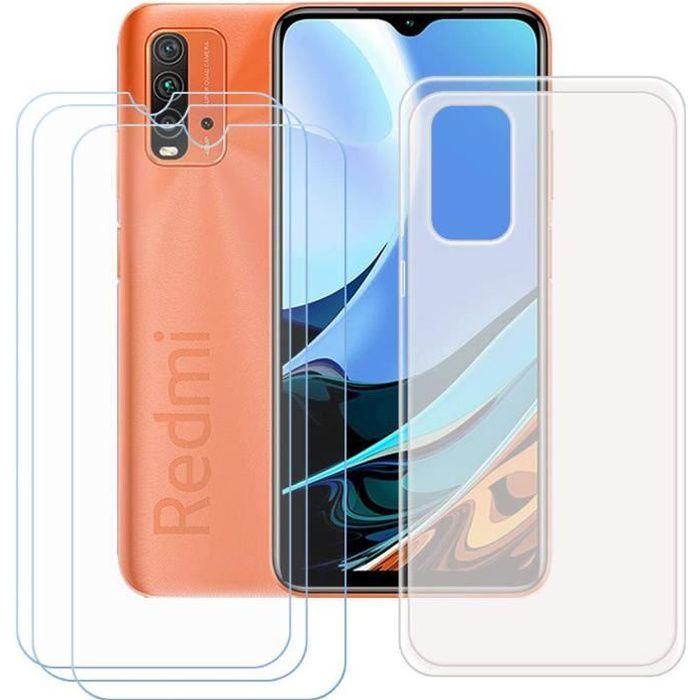 Coque Xiaomi Redmi 9T + 3 pièces Verre trempé Film Protection écran, Souple Semi-Transparent Silicone Housse Étui Protecteur TV
