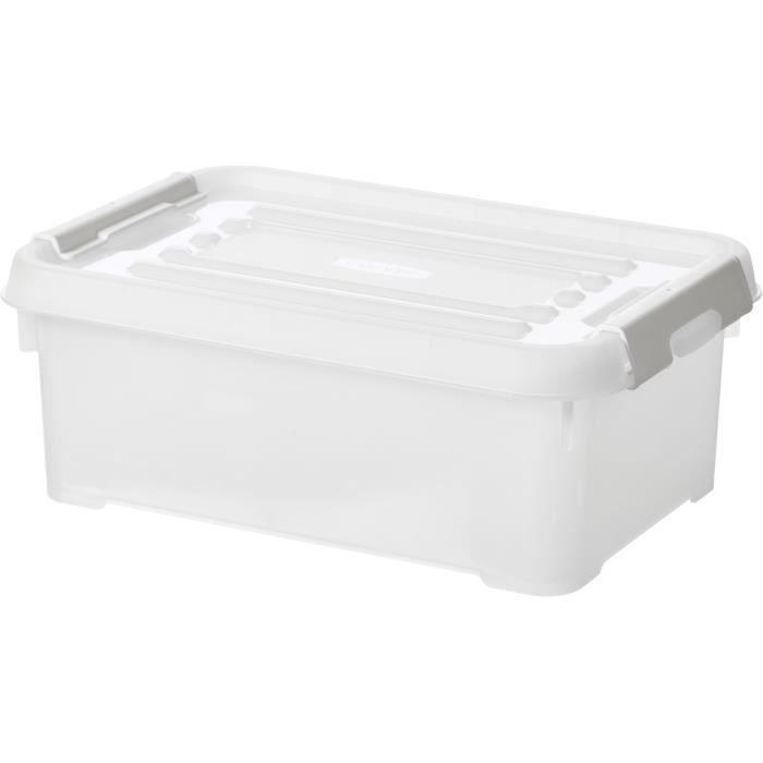 CURVER - Handy box - Plus 4L + clips gris avec couvercle 100% recyclée