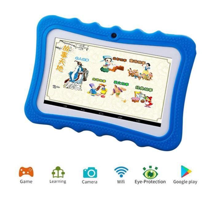 Efuture Tablette pour enfant 7 pouces Wifi caméra Android Hd écran étudiant Machine d'apprentissage Bleu
