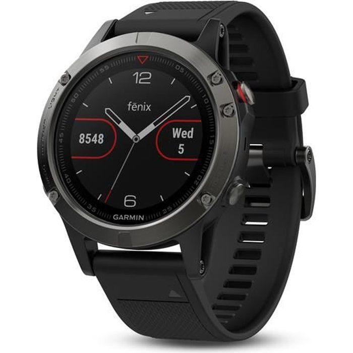 GARMIN Montre GPS Fenix 5 - 10 ATM - Noir et Gris - Mixte
